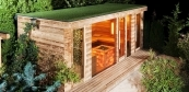 Combined sauna house with green roof