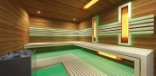 Combined sauna with minimal style benches