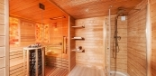 Comfort sauna house with bath