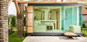 Outdoor wellness sauna house with bath