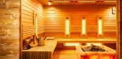 Rustical and modern style sauna house