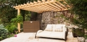 Terrace with pergola and sauna wellness