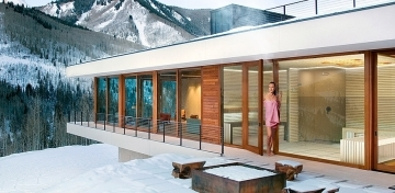 Wellness sauna house in a ski resort