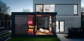 Wellness sauna house with relax terrace